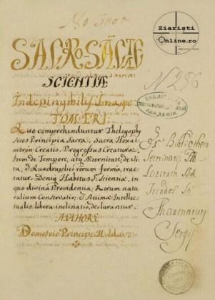 "Filă din manuscrisul ""Sacrosanctae Scientiae Indepingibilis Imago"""