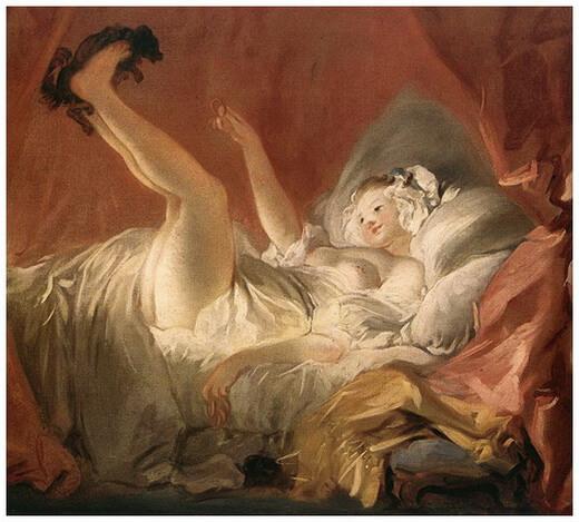 """Jean-Honoré Fragonard, """"Femeie jucându-se cu un câine"""", c. 1765 – 1772"""