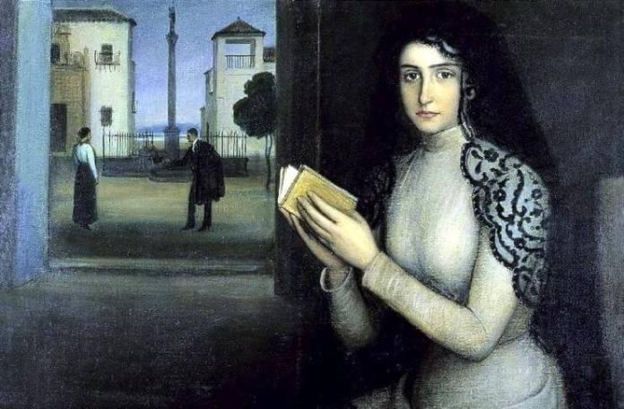"""Mihaela Popescu Julio Romero de Torres (1874 – 1930), """"Femeie în timpul discursului"""" – fragment"""