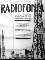 "Revista săptămânală ""Radiofonia"", anul I, nr. 1, vineri, 9 noiembrie 1928"