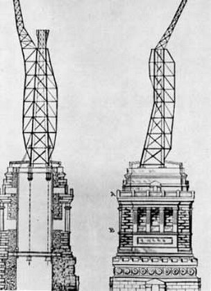 Elementele structurii interioare a Statuii Libertății din New York, desenate de Gustave Eiffel