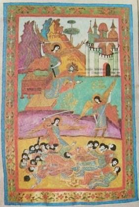Îngerul amenințând pe David cu sabia. Îngerii ucigând ostașii lui David – Tetraevangheliar