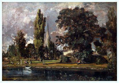"""""""Catedrala din Salisbury şi Leadenhall văzute dinspre râul Avon"""", 1820"""