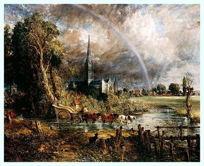 """""""Catedrala din Salisbury văzută din luncă"""", 1831"""