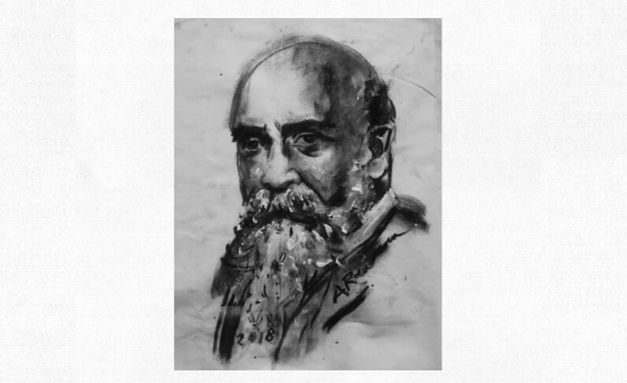 Nicolae Iorga, portret de Adina Romanescu, 2018. Inedit