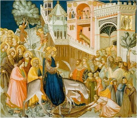 """Pietro Lorenzetti, """"Intrarea Domnului în Ierusalim"""", frescă, Assisi"""