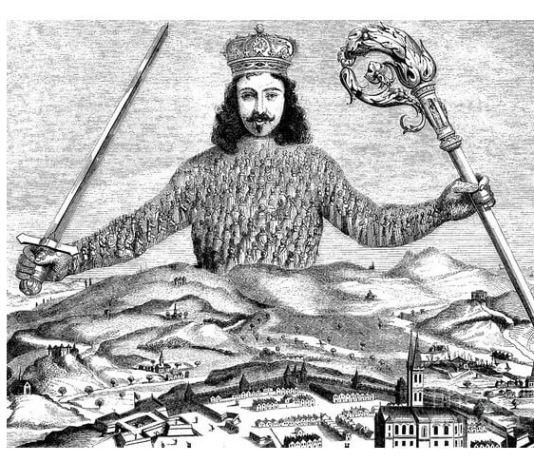 "Gravură de Abraham Bosse pe frontispiciul ediției princeps a cărții ""Leviathan"" de Thomas Hobbes, aprilie 1651"