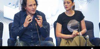 Alexandre Bloch și Marion Cotillard la conferința de presă, 18 septembrie 2019, București