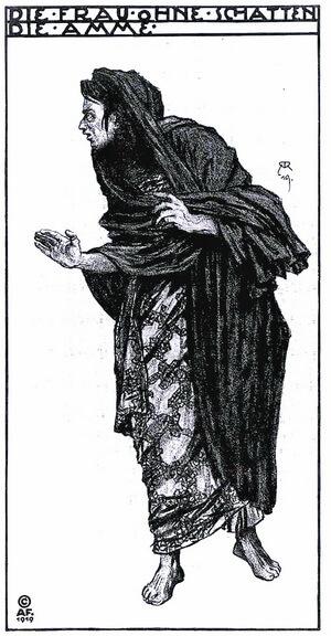 """Costum de Alfred Roller pentru rolul Doica la premiera absolută a operei """"Die Frau ohne Shatten"""", 10 octombrie 1919, Viena"""
