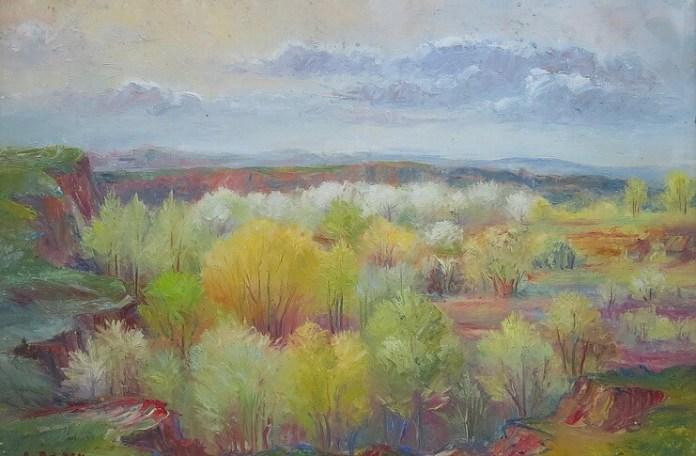 """Dumitru Bâșcu, """"Peisaj cu pomi înfloriți"""""""