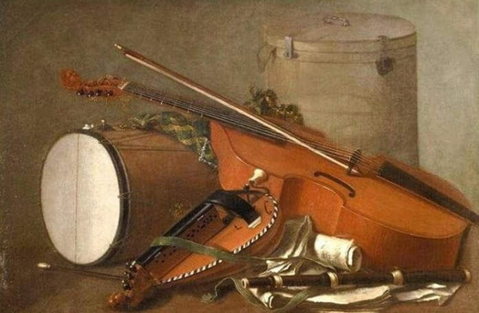 "Henri-Horace Roland de La Porte (1724 – 1793), ""Natură moartă cu instrumente muzicale"", Musée des beaux-arts du Château de Blois"