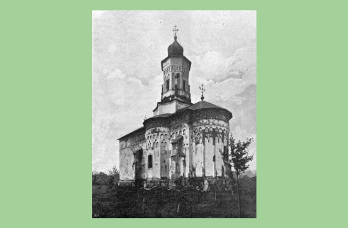 Biserica Sf. Gheorghe din Hârlău la sfârșitul secolului al XIX-lea. Fotografie de Henric Trenk