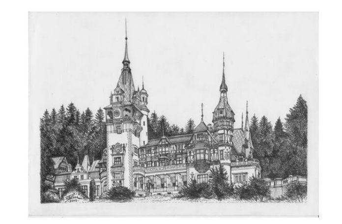Castelul Peleș, desen de Bogdan Calciu