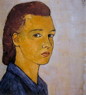 Charlotte Salomon, Autoportret, guașă pe carton, 1940