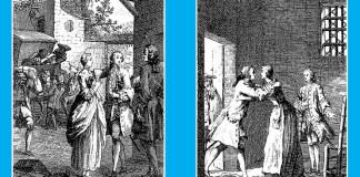 """""""Întâlnirea dintre Des Grieux și Manon"""" și """"Vizita lui Manon la Salpêtrière"""". Ilustrații de Hubert-François Gravelot la Abatele Prevost, """"Histoire du Chevalier Des Grieux et de Manon Lescaut"""", Amsterdam, 1753"""