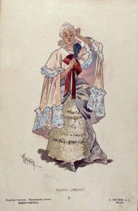 """Costumul lui Manon pentru actul al II-lea, desenat de Adolfo Hohenstein pentru premiera mondială a operei """"Manon Lescaut"""" de Puccini"""