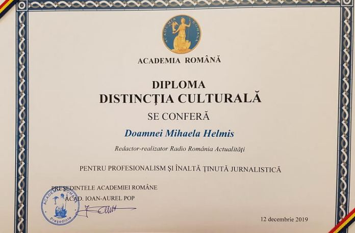 Diploma Distinctia culturala