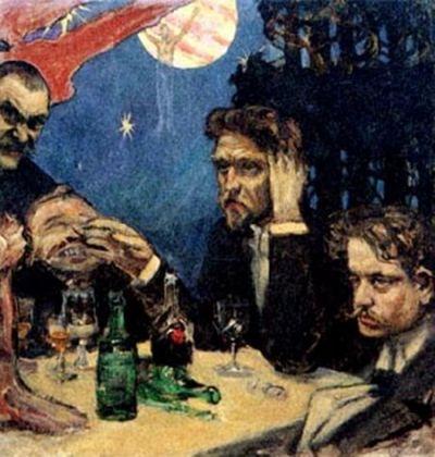 "Jean Sibelius (dreapta), Akseli Gallen-Kallela (stânga), Oskar Merikanto, Robert Kajanus. Schiță de Akseli Gallen-Kallela din 1894 pentru tabloul terminat mai târziu, ""Symposion"""