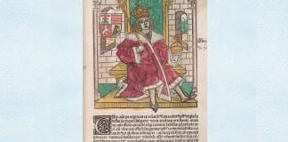 """Matei Corvin, ilustrație in pagina unui incunabul slovac al cărui autor este Ioannes de Thurocz, adică Thuróczy János, istoric maghiar, autor al """"Chronica Hungarorum"""""""
