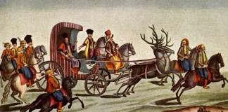 O imagine a extravaganţelor atribuite fanarioţilor din Muntenia: Nicolae Mavrogheni călătorind prin Bucureşti într-o trăsură trasă de cerbi. Sursa: Wikipedia.