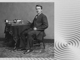 Edison cu primul său fonograf. Sursa foto: Wikipedia