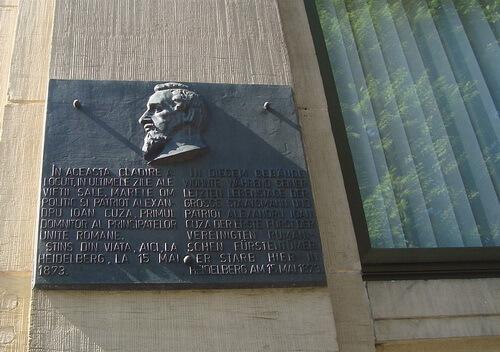 Placa memorială pe clădirea în care a locuit Al. I. Cuza la Heidelberg