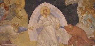 """""""Învierea Domnului"""", frescă bizantină, Biserica Chora, Constantinopol, sec. al XIV-lea"""
