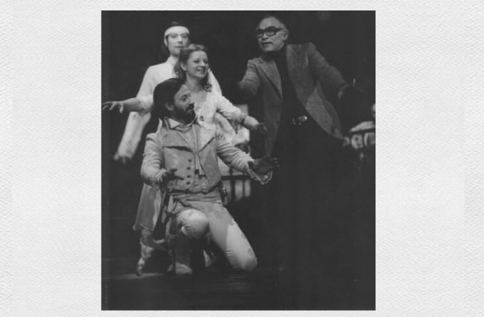 """Liviu Ciulei, Florian Pittiș, Mariana Mihuț, Ion Caramitru, repetiții pentru spectacolul """"Furtuna"""" de William Shakespeare, Teatrul """"Bulandra"""" din București, 1978. Sursa foto: Teatrul """"Bulandra"""""""