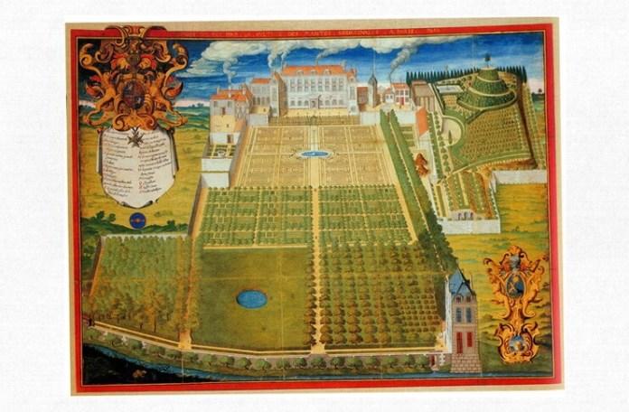 """""""Grădina regală a plantelor medicinale"""", pictată pe pergament de Frédéric Scalberge (1636), între viitoarea rue du Jardin du Roy, actualmente rue Geoffroy St-Hilaire, și Canal des Victorins, dispărut."""