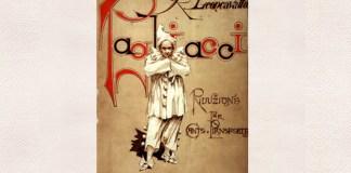 "Coperta ediției princeps a operei ""Pagliacci"" (reducția pentru pian), E. Sonzogno, Milano, 1892"