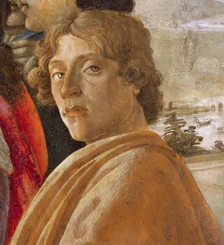 """Sandro Botticelli, autoportret, detaliu din """"Adorația magilor"""""""