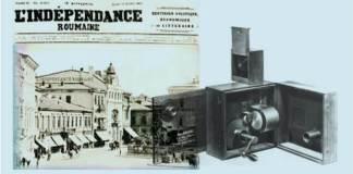 """În dreapta, primul aparat """"cinematograf"""" al fraților Lumière folosit la filmat și la proiecție"""
