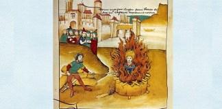 """Arderea pe rug a lui Jan Hus, """"Spiezer Chronik"""", 1485"""