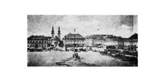 Piața Domului (Unirii) din Timișoara în 1860. Sursa: Wikipedia