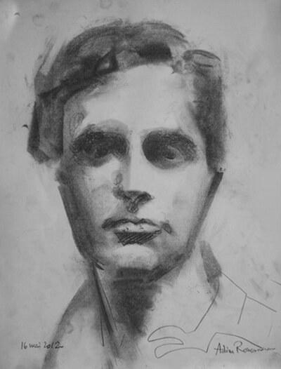 Amedeo Modigliani, portret de Adina Romanescu, creion și cărbune, 16 mai 2012. Copyright © Adina Romanescu