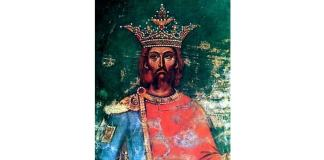 Mircea cel Bătrân. Pictură din biserica Episcopiei de Argeș (1)