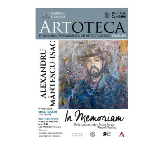 Afiş - Expoziție la Artoteca BMB în memoria sculptorului Alexandru Măntescu-Isac