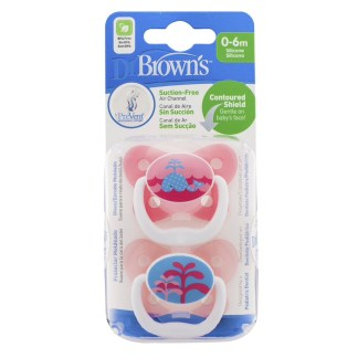 Dr Brown's Soother Twin Pack: 0-6m (Pink Whale)