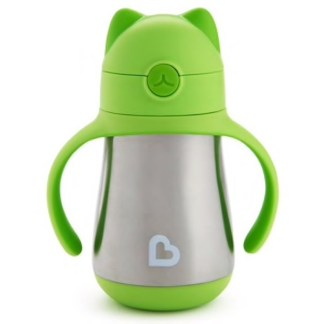 Cool Cat Stainless Steel Straw Cup: 237ml (Green)