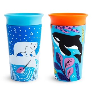 Munchkin Miracle 360 WildLove Sippy Cup Twin Pack: 12m+ (Orca/Polar Bear)