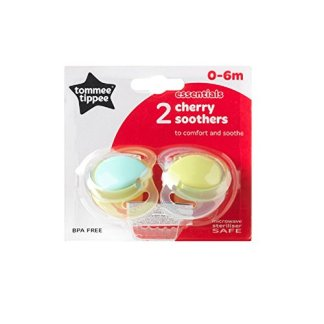 Essentials Latex Cherry Soother Twin Pack - 0-6m (Yellow/Green)