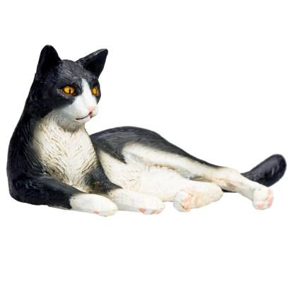 Cat Lying Black and White (Animal Planet 387367)   LeVida Toys