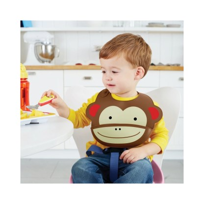 Skip Hop - Zoo Fold & Go Silicone Bib: Marshall Monkey   LeVida Toys