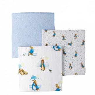 Set of 3 Peter Rabbit Muslin Squares   LeVida Toys