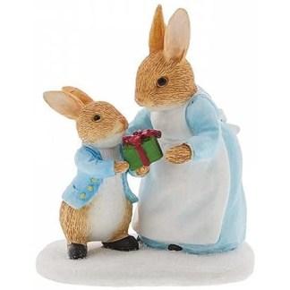 Mrs. Rabbit Passing Peter Rabbit a Present Figurine - LeVida Toys