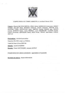 thumbnail of Compte rendu du Conseil Municipal du 5 Février 2016
