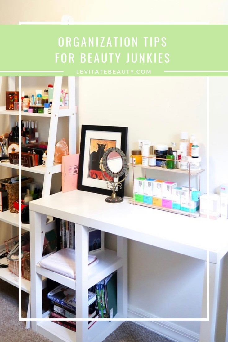 How to organize your beauty products | I almost always recommend displaying your skincare in places that are visible and easily accessible, and grouping similar products together in a way that makes sense to you (whether this is by function, brand, color, or price point). | Tips for organizing your skincare stash | Marie Kondo your beauty stash | Minimal skincare | Home decor | Skincare vanity | Makeup vanity | The best ways to store your skincare | Why you should never store your skincare in your bathroom | How to get the most use out of your skincare products | Skincare vanity inspo | LevitateBeauty.com
