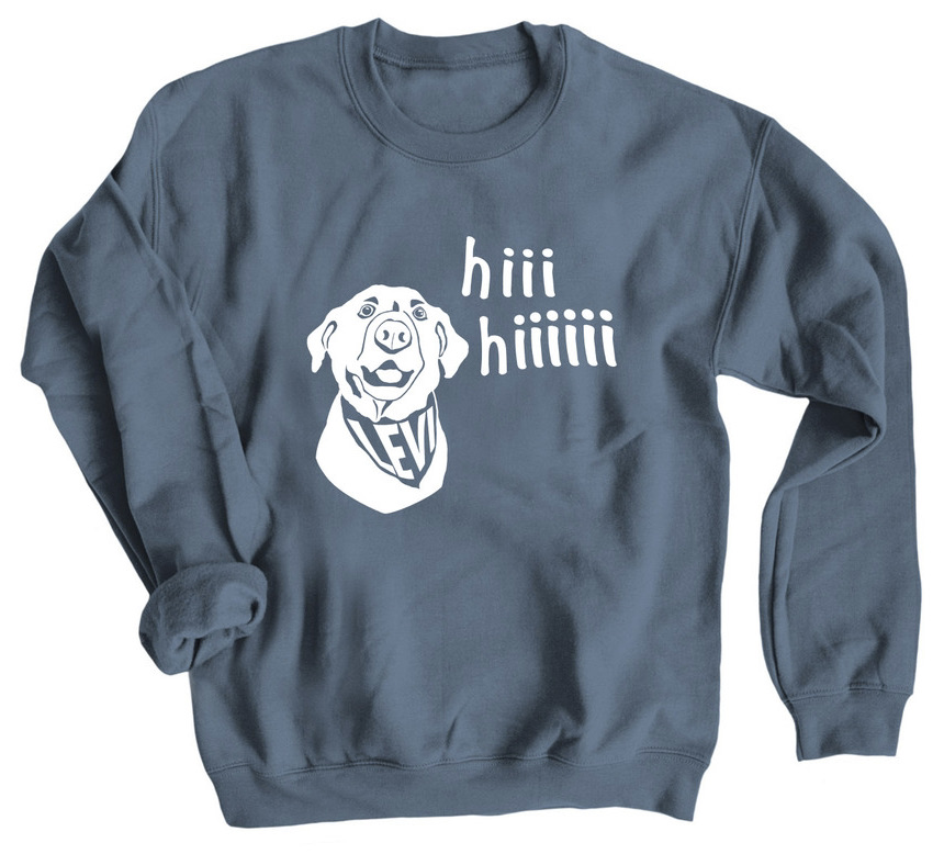 Indigo sweatshirt for adults with picture of Levi saying hi