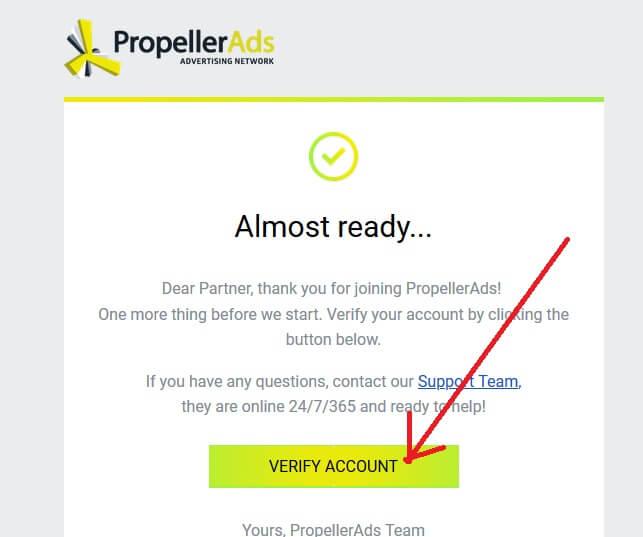 Verifier votre compte Propeller Ads