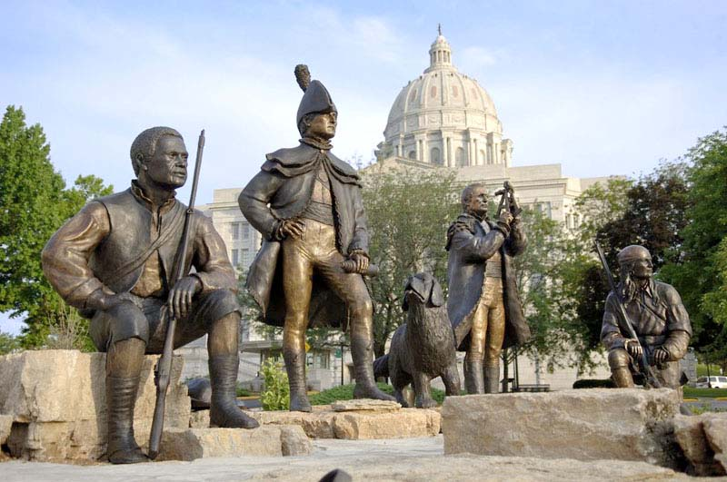 Lewis and Clark monument in Jefferson City, Mo. From left to right: York, Meriwether Lewis, Seaman, William Clark, and George Drouillard.